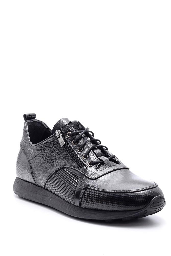 5638090339 Erkek Fermuar Detaylı Deri Ayakkabı