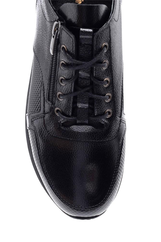 5638090358 Erkek Fermuar Detaylı Deri Ayakkabı
