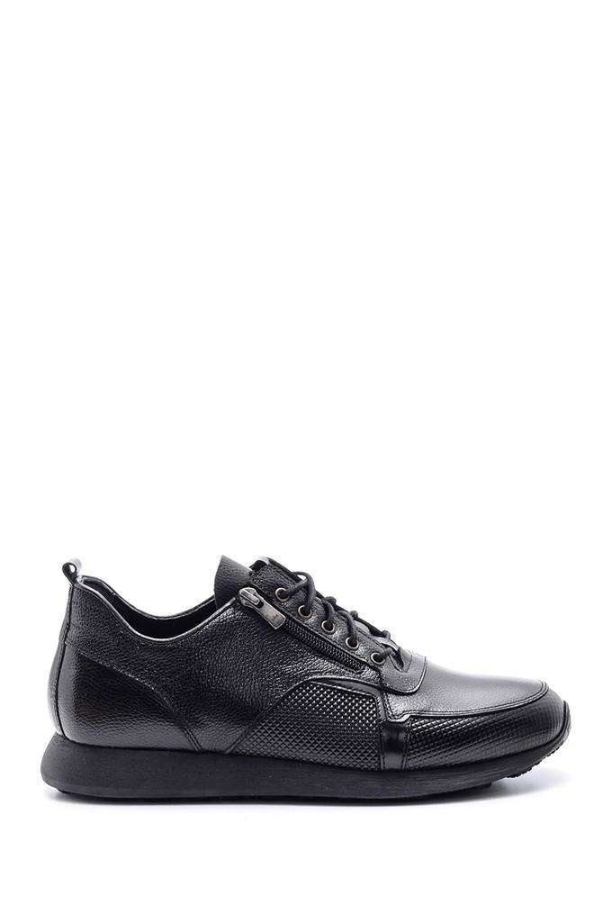 Siyah Erkek Fermuar Detaylı Deri Ayakkabı 5638090358