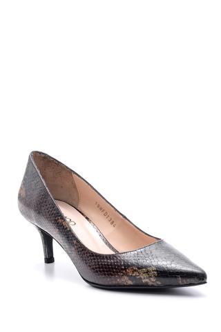 Kadın Yılan Desenli Deri Topuklu Ayakkabı