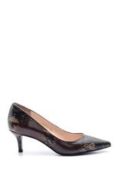 5638092931 Kadın Yılan Desenli Deri Topuklu Ayakkabı