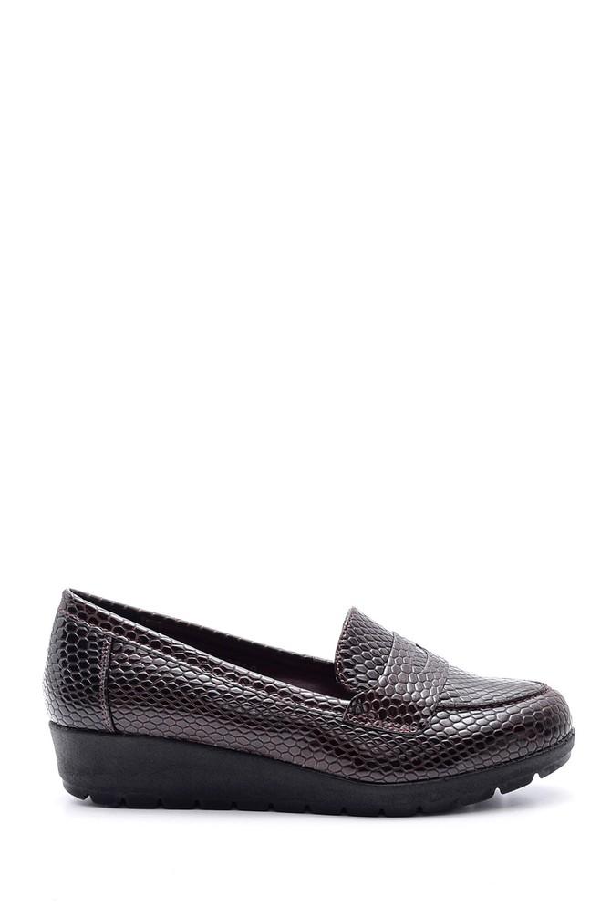 Bordo Kadın Yılan Derisi Desenli Ayakkabı 5638082054