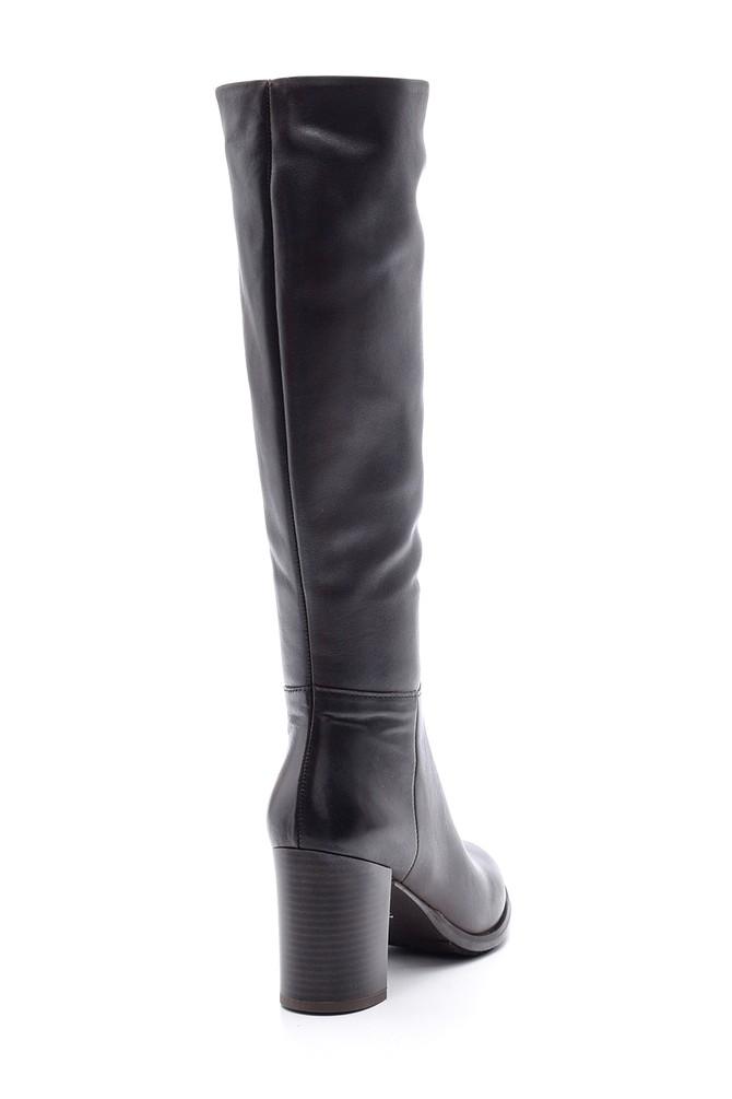 5638103372 Kadın Deri Topuklu Çizme