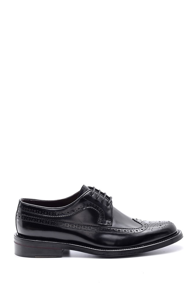 Siyah Erkek Deri Kösele Tabanlı Ayakkabı 5638094588