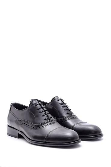 Siyah Erkek Deri Kösele Tabanlı Ayakkabı 5638088396