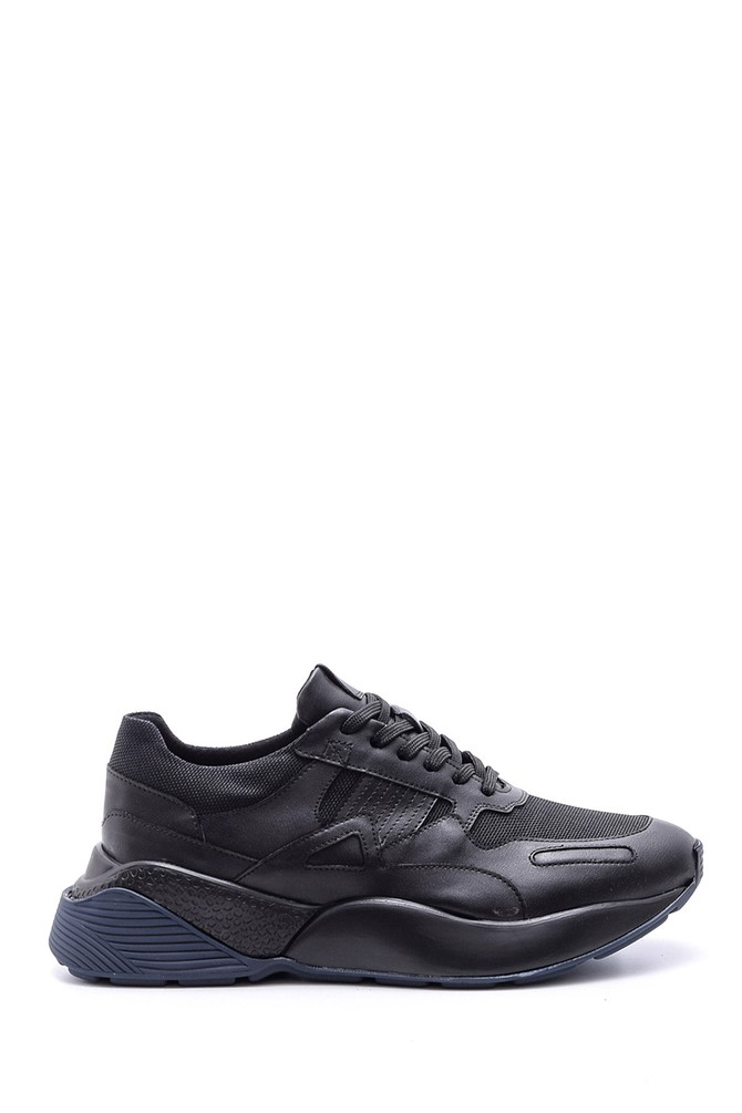 Siyah Erkek Yüksek Tabanlı Deri Sneaker 5638089200