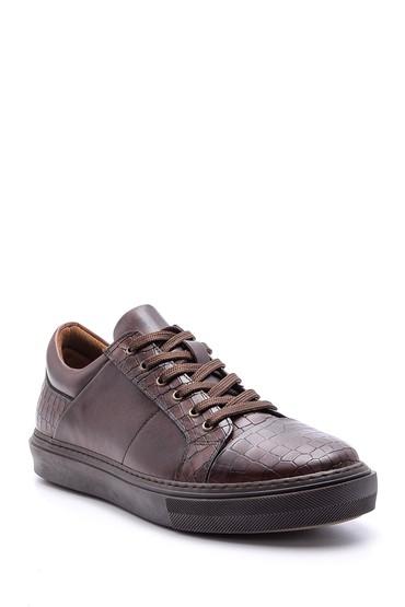 Kahverengi Erkek Kroko Detaylı Deri Sneaker 5638089775