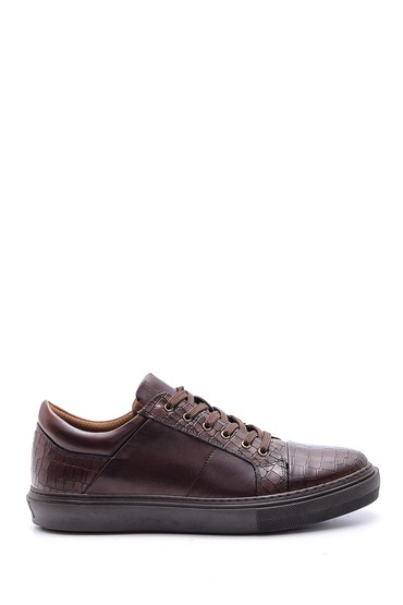 5638089775 Erkek Kroko Detaylı Deri Sneaker