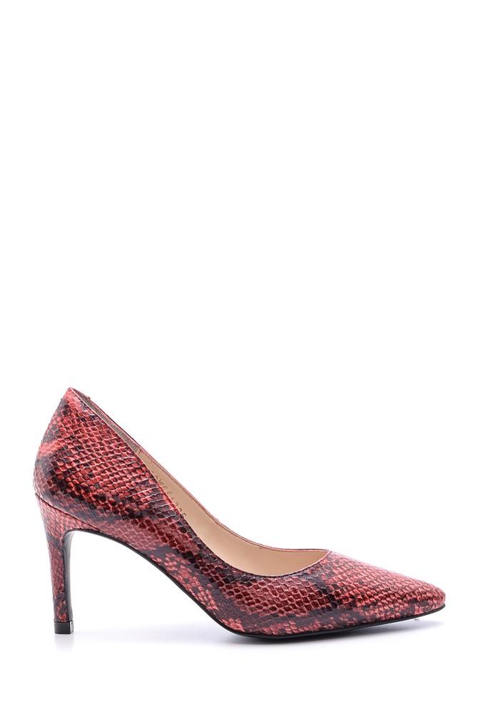 Kırmızı Kadın Yılan Derisi Desenli Stiletto 5638093754