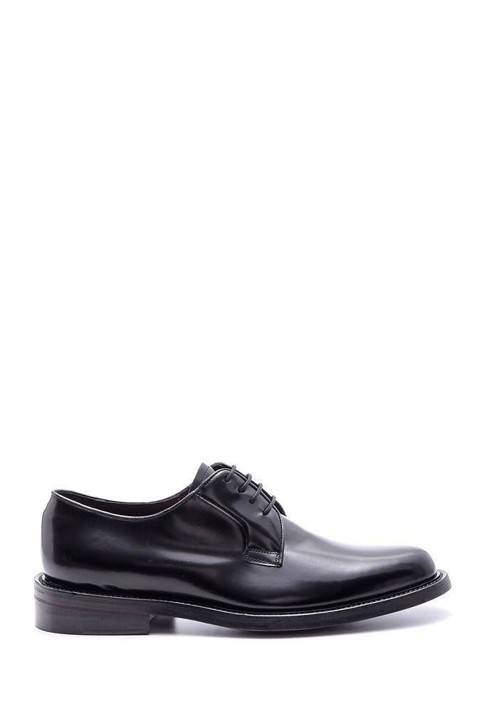Siyah Erkek Deri Kösele Tabanlı Ayakkabı 5638094577