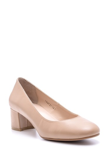Pembe Kadın Topuklu Deri Ayakkabı 5638117372
