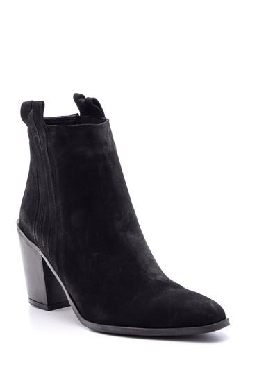 Siyah Kadın Topuklu Süet Deri Bot 5638113914
