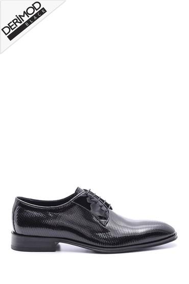 Siyah Erkek Kösele Taban Deri Ayakkabı 5638088219