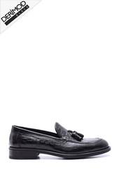 5638088255 Erkek Deri Kösele Kroko Desenli Ayakkabı