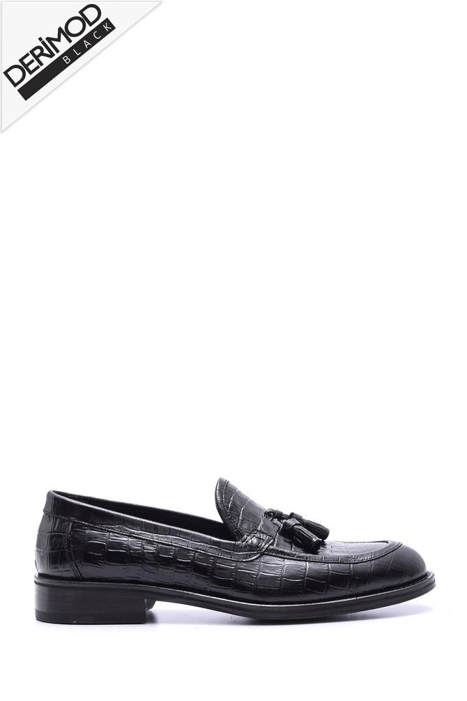 5638088267 Erkek Deri Kösele Kroko Desenli Ayakkabı