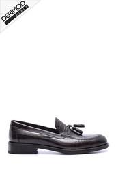 5638088254 Erkek Deri Kösele Kroko Desenli Ayakkabı