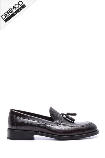 Kahverengi Erkek Deri Kösele Kroko Desenli Ayakkabı 5638088254