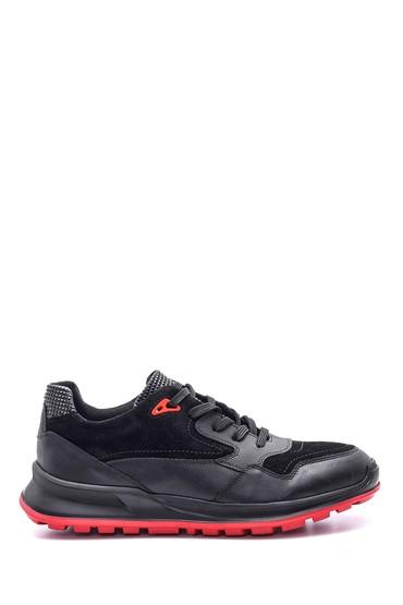 5638089409 Erkek Süet Detaylı Deri Sneaker