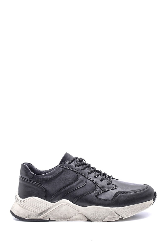 Siyah Erkek Deri Sneaker 5638089429