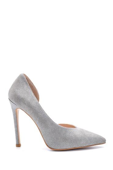 Gri Kadın Simli Topuklu Deri Ayakkabı 5638098019