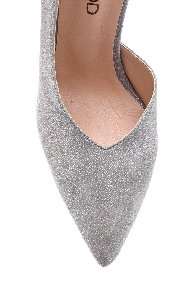 5638098019 Kadın Simli Topuklu Deri Ayakkabı