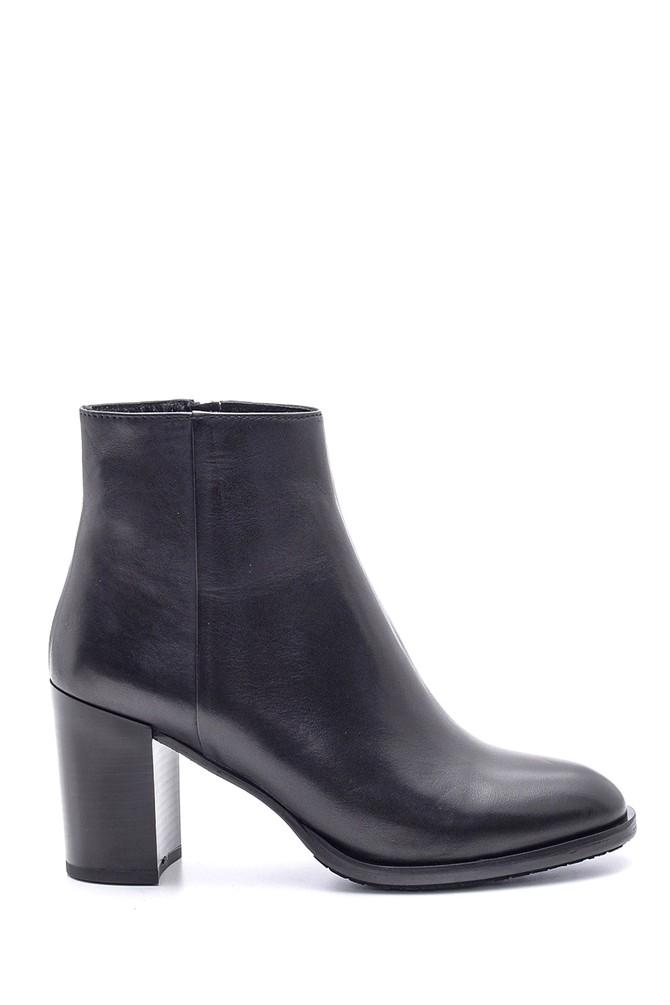 Siyah Kadın Topuklu Deri Bot 5638091378