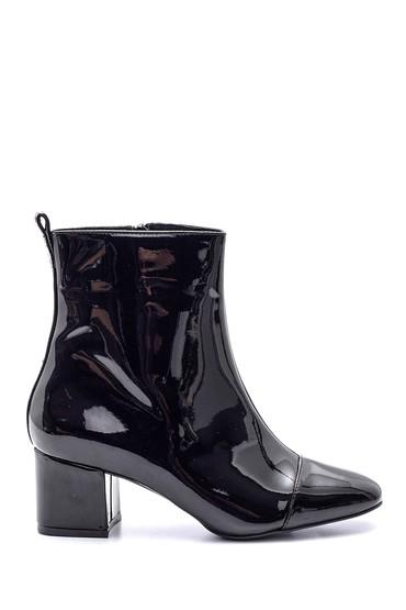 Siyah Kadın Topuklu Rugan Deri Bot 5638092858
