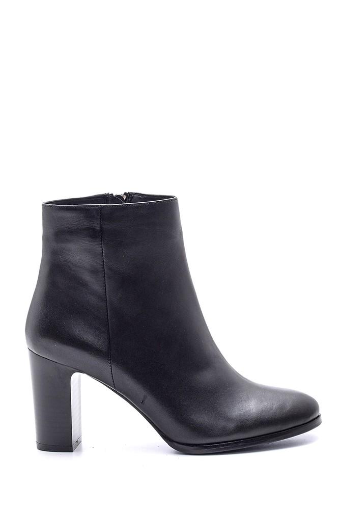 Siyah Kadın Topuklu Deri Bot 5638093009