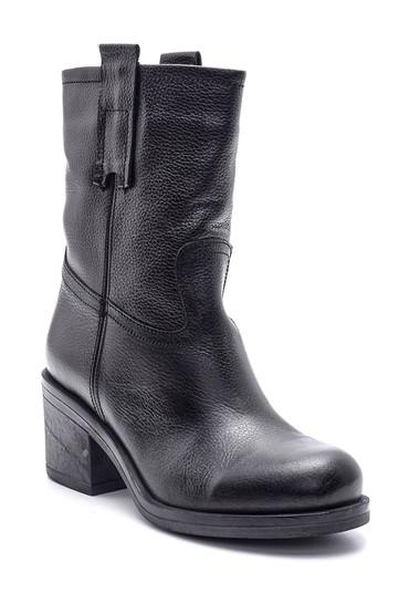 Siyah Kadın Topuklu Deri Bot 5638091173