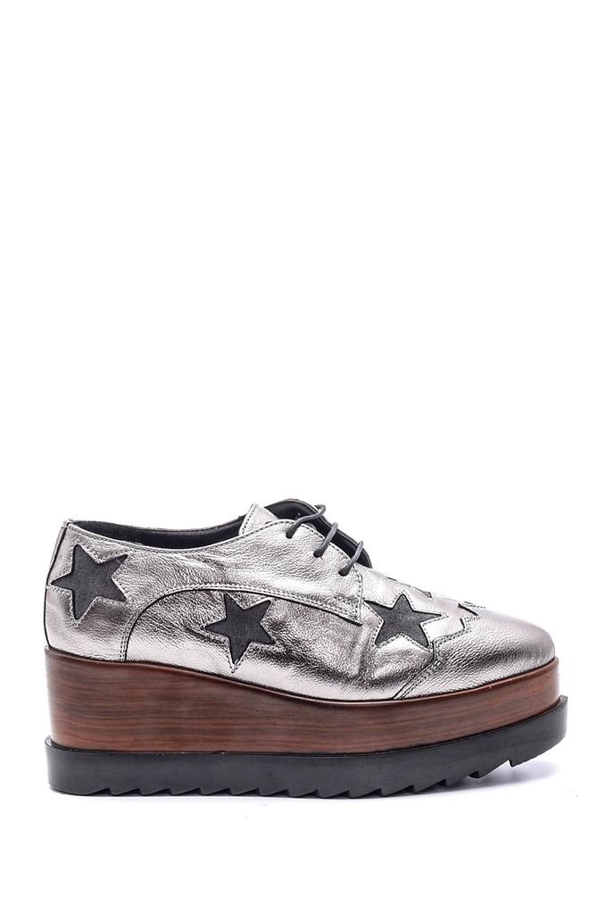 Gri Kadın Yıldızlı Dolgu Topuklu Ayakkabı 5638103137