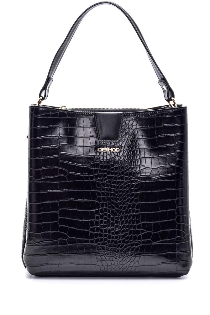 Siyah Kadın Kroko Desenli Çanta 5638110602