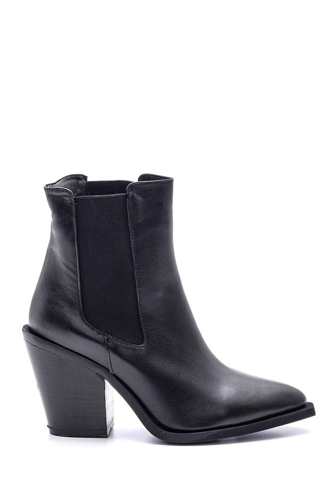 Siyah Kadın Topuklu Deri Bot 5638114449