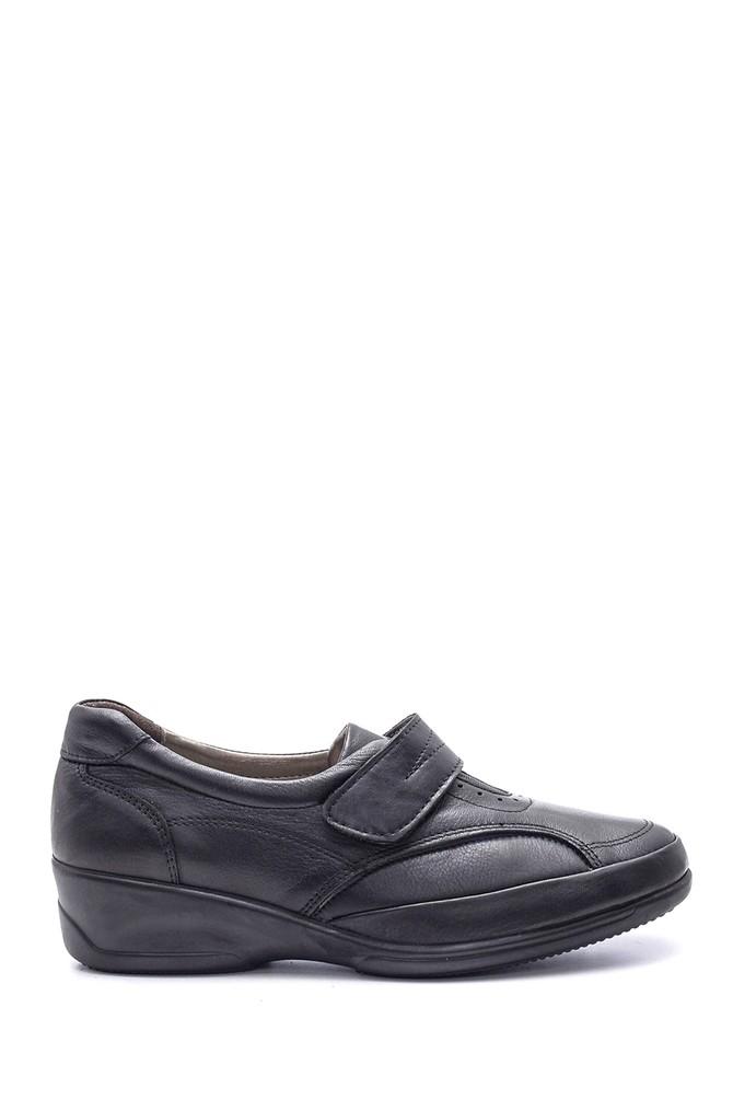 Siyah Kadın Bantlı Deri Ayakkabı 5638091503