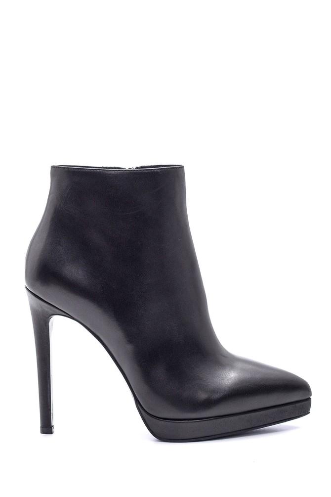 Siyah Kadın Deri Topuklu Bootie 5638114921