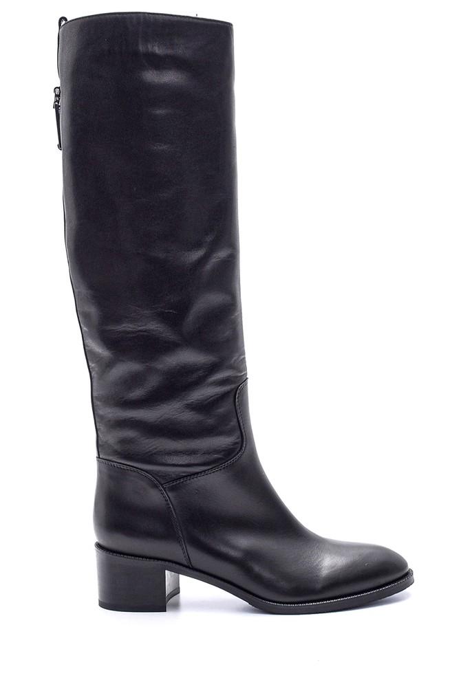 Siyah Kadın Topuklu Deri Çizme 5638114943