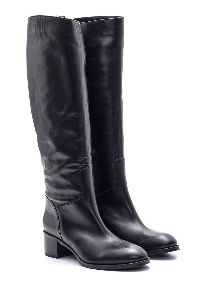 5638114943 Kadın Topuklu Deri Çizme