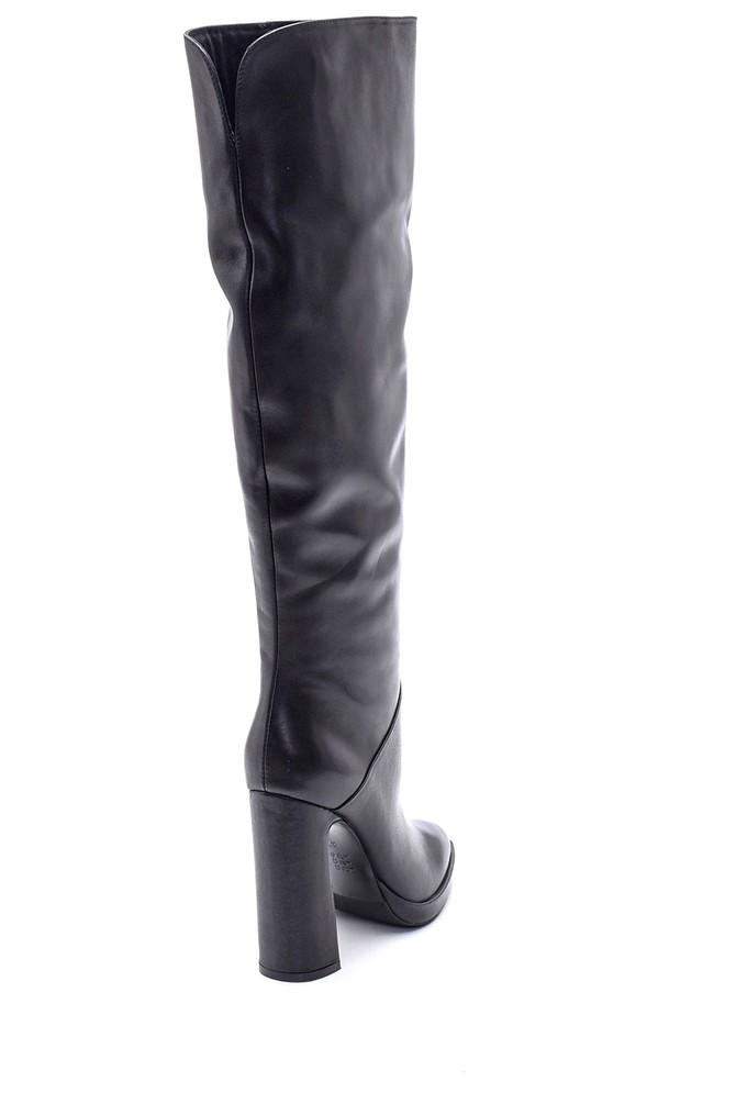5638114951 Kadın Topuklu Deri Çizme