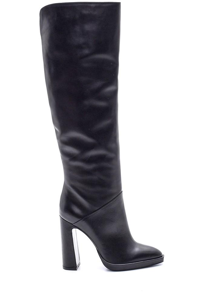 Siyah Kadın Topuklu Deri Çizme 5638114951
