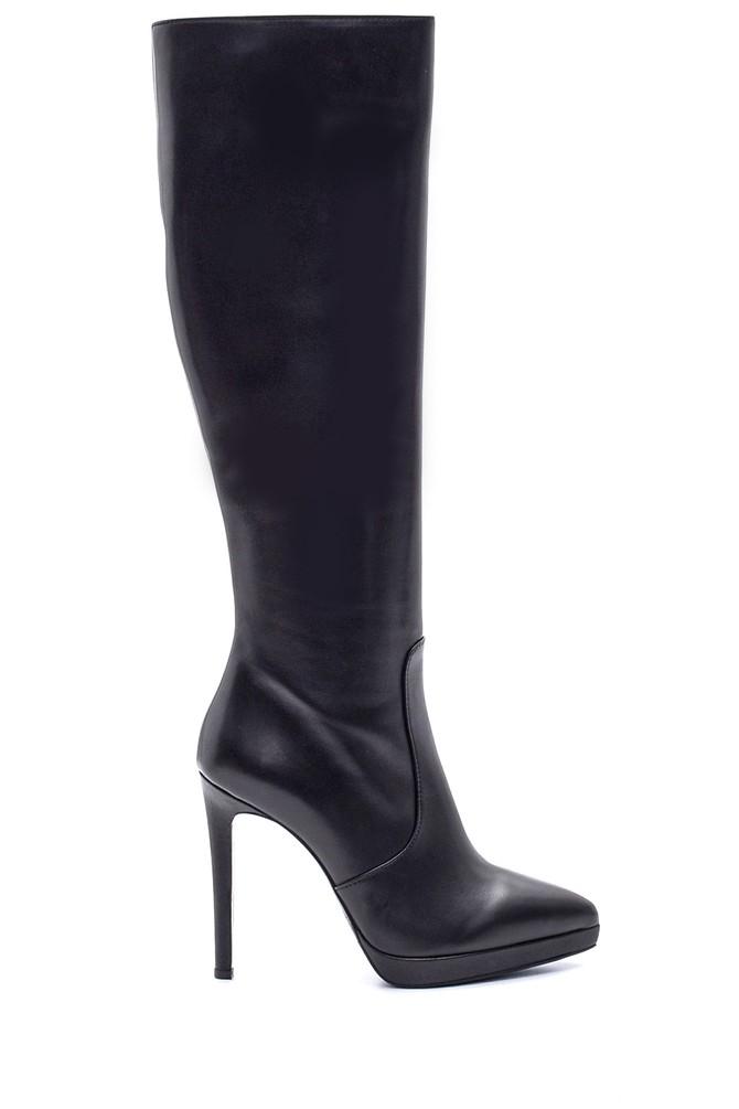 Siyah Kadın Topuklu Deri Çizme 5638114981