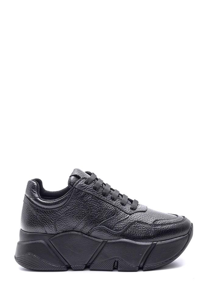 Siyah Kadın Yüksek Tabanlı Deri Sneaker 5638113882