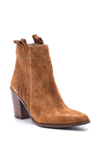 Kahverengi Kadın Topuklu Süet Deri Bot 5638113913