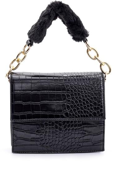 Siyah Kadın Kroko Desenli Peluş Detaylı Çanta 5638090076