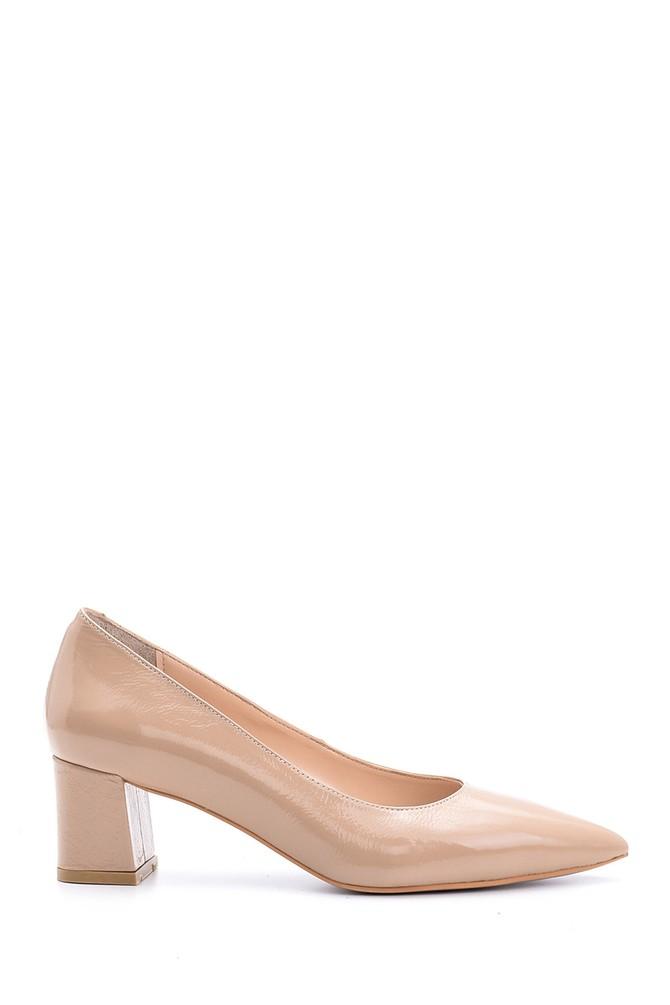Bej Kadın Topuklu Rugan Deri Ayakkabı 5638092892