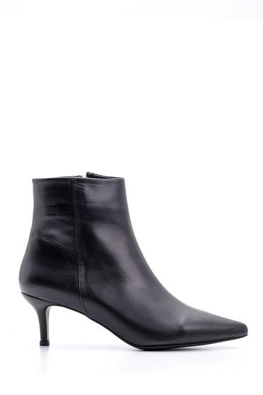 Siyah Kadın Topuklu Deri Bot 5638093513