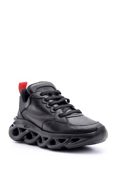 Siyah Kadın Taban Detaylı Deri Sneaker 5638114847