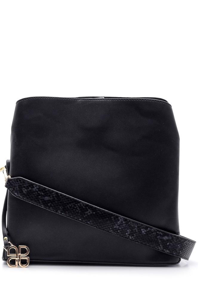 Siyah Kadın Yılan Derisi Detaylı Çanta 5638090133
