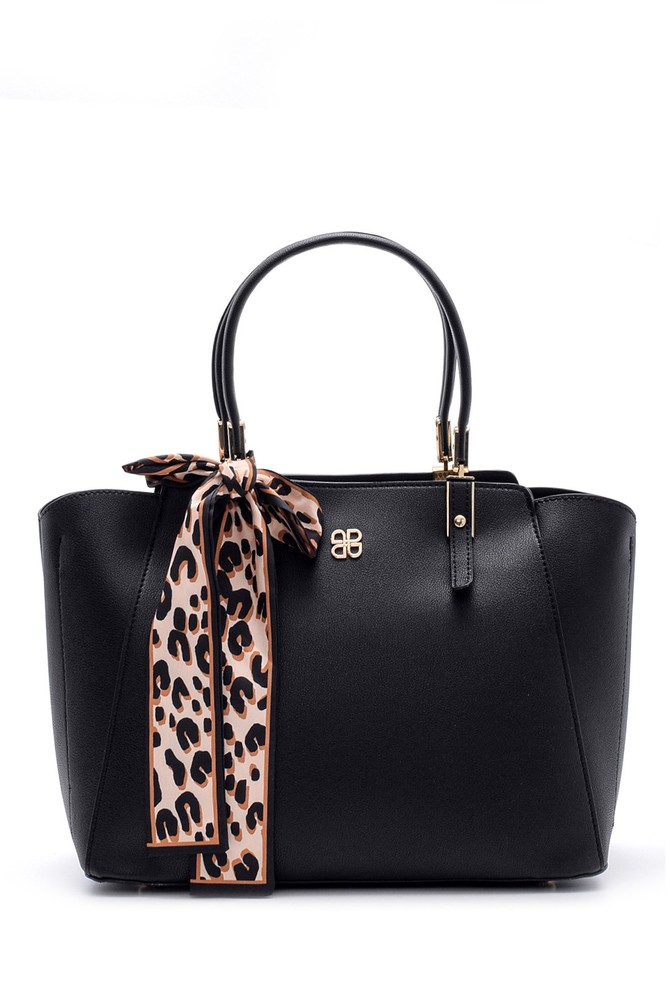 Siyah Kadın Fular Detaylı Çanta 5638090158