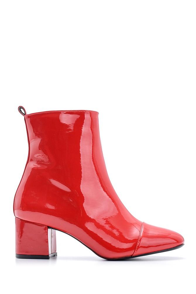 Kırmızı Kadın Topuklu Rugan Deri Bot 5638092876
