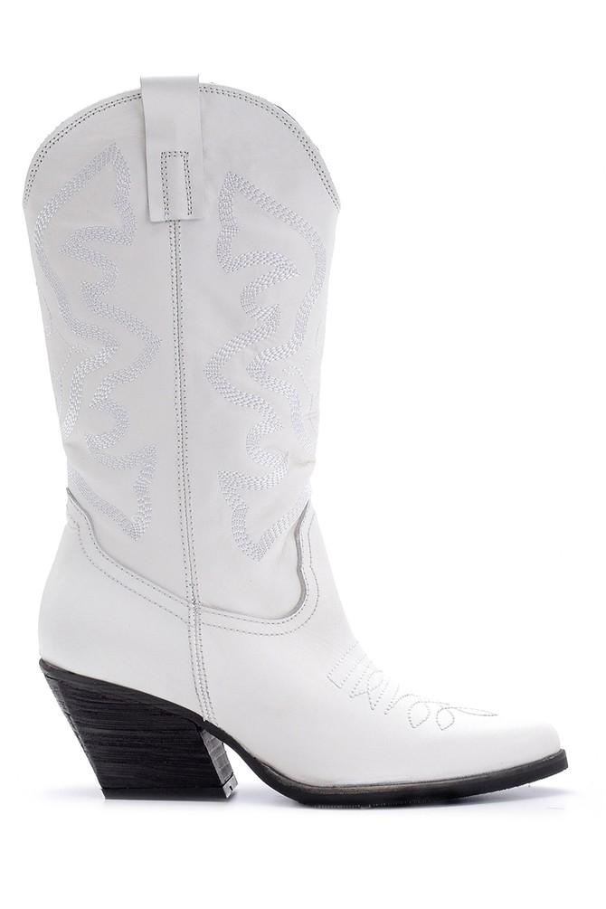 Beyaz Kadın Deri Topuklu Kovboy Çizme 5638091206
