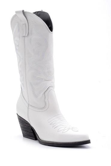 Beyaz Kadın Deri Topuklu Kovboy Çizme 5638091202